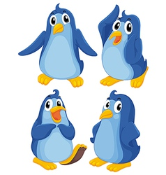 Four blue penguins vector