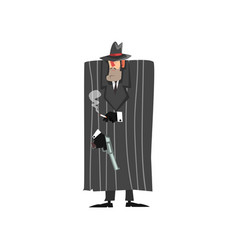 Gangster criminal character in black coat and vector