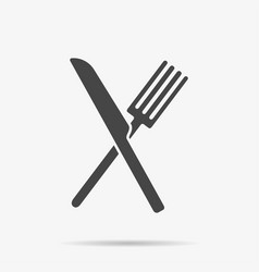 Gray knife and fork icon on background modern fla vector