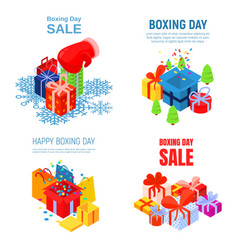 happy boxing day banner set isometric style vector image