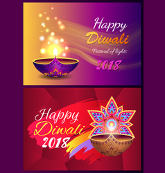 happy diwali set of posters vector image