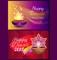 Happy diwali set posters vector