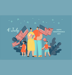 happy family with two children standing with usa vector image