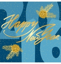 Happy Newr Year Lettering greeting card vector image