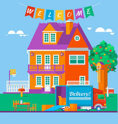 Housewarming apartment moving new dwelling vector