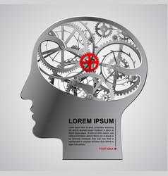 Human metallic head half face with brain gears vector
