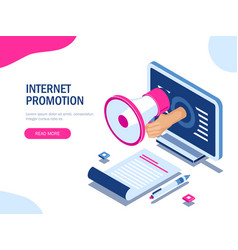internet promotion concept modern 3d vector image