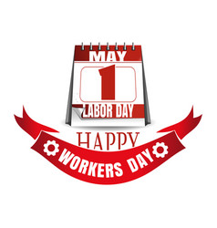 labor day calendar may 1 happy workers day vector image