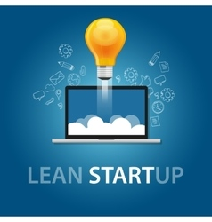 Lean start-up product launch bulb idea technology vector