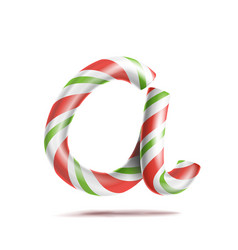 Letter a 3d realistic candy cane alphabet vector