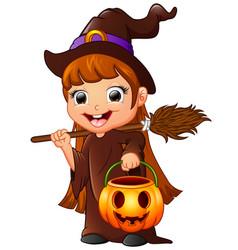 Little witch cartoon holding broom and pumpkin vector