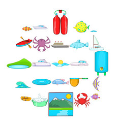 Live on water icons set cartoon style vector