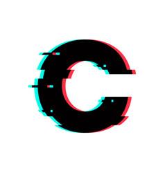 Logo letter c glitch distortion vector