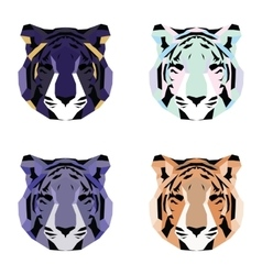 Low poly tigers set vector