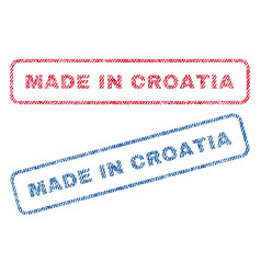 made in croatia textile stamps vector image