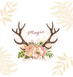 Magic horn deer vector