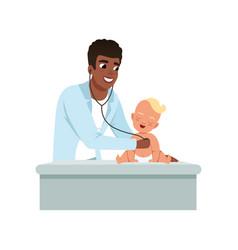 Male pediatrician doing medical examination of vector