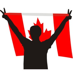 Man with flag of Canada vector