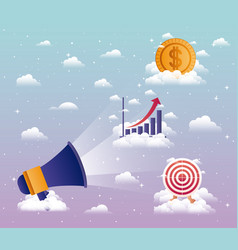 Megaphone sound with business icons vector