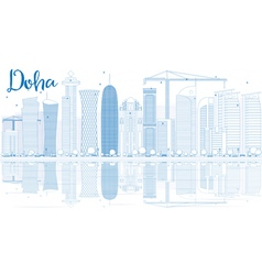Outline Doha skyline with blue skyscrapers vector