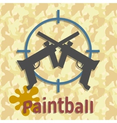 Paintball guns and splash poster vector image