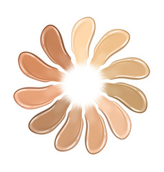 Palette shades foundation realistic creamy vector