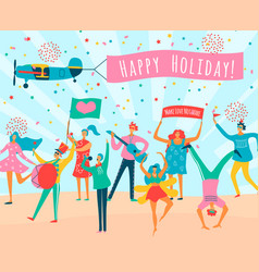 parade people flat composition vector image