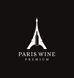 paris eiffel tower landmark and wine bottle logo vector image