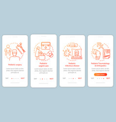 Pediatric services onboarding mobile app page vector