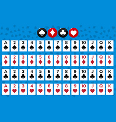 Poker set with isolated cards on background vector