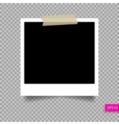 Polaroid photo frame template on sticky tape pi vector