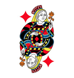 queen of diamonds isolated french version vector image