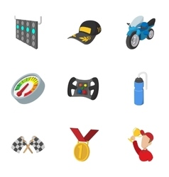Racing accessories icons set cartoon style vector image
