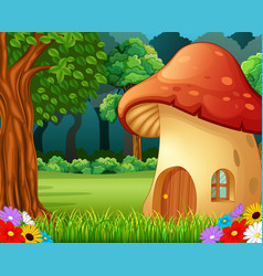 Red mushroom house on forest vector