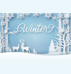 reindeer in forest with snowflakes vector image