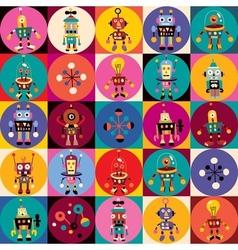 Retro robots pattern vector