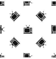 retro tv pattern seamless black vector image