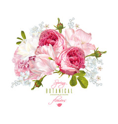 romantic flowers composition vector image