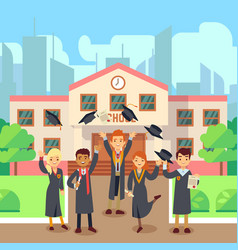 school graduate concept students group and school vector image