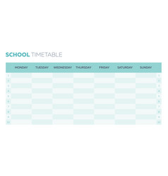 School timetable planner for a week vector