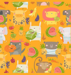 seamless pattern with cartoon animals holding vector image