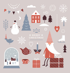 set christmas graphic elements winter vector image