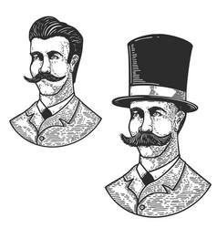 set gentleman in vintage hat in engraving vector image
