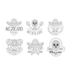 set of hand drawn emblems for mexican vector image