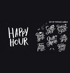 set of white typographic hand drawn vintage text vector image