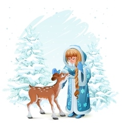 Snow Maiden in blue fur coat and fawn among pine vector image