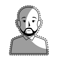 Sticker silhouette half body bald man with beard vector