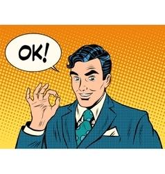 Successful businessman okay gesture OK vector