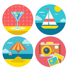 Summer vacation icons in flat design vector