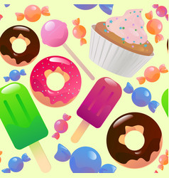 sweets and candys seamless pattern vector image